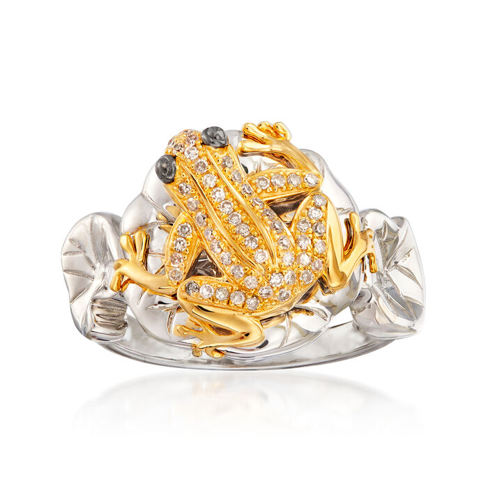 .15 ct. t.w. Diamond Frog Ring in Sterling Silver and 18kt Gold Over Sterling, , default