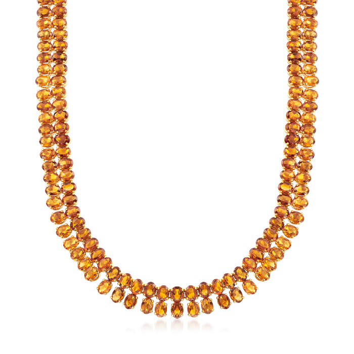 C. 1970 Vintage 98.00 ct. t.w. Citrine Necklace in 18kt Yellow Gold