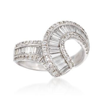 1.54 ct. t.w. Baguette and Round Diamond Swirl Ring in 18kt White Gold, , default