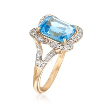 4.00 Carat Blue Topaz and .28 ct. t.w. Diamond Ring in 14kt Yellow Gold, , default