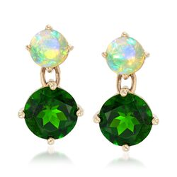 Opal and 2.60 ct. t.w. Green Diopside Drop Earrings in 14kt Yellow Gold, , default