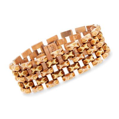 C. 1940 Vintage 18kt Rose Gold Link Bracelet, , default