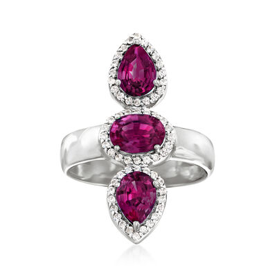 2.80 ct. t.w. Rhodolite Garnet and .30 ct. t.w. White Zircon Frame Ring in Sterling Silver, , default