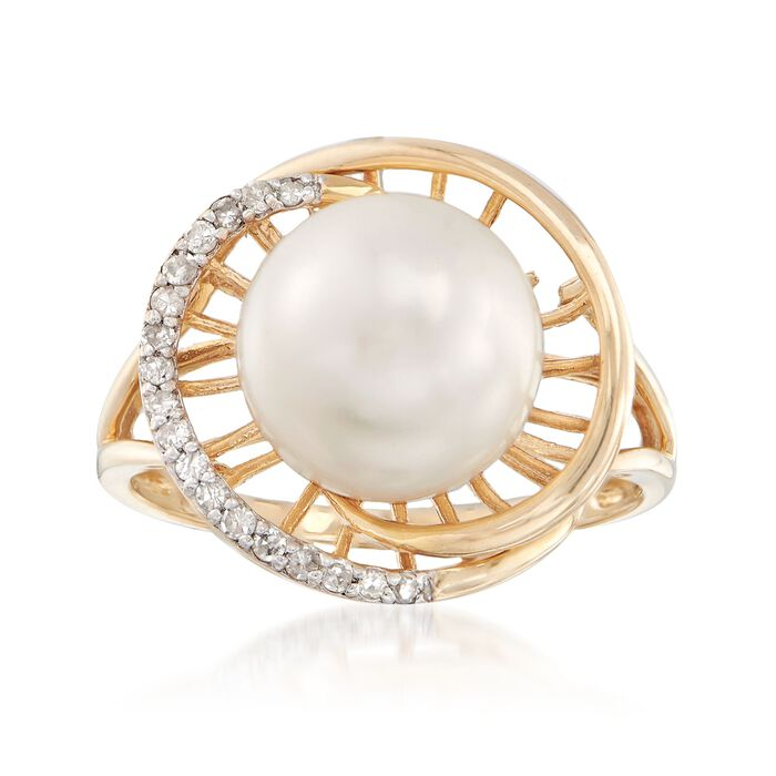 10-10.5mm Cultured Pearl and .12 ct. t.w. Diamond Ring in 14kt Yellow Gold, , default