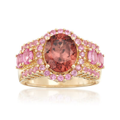 1.60 Carat Pink Zircon and 1.60 ct. t.w. Pink Sapphire Ring in 14kt Yellow Gold, , default