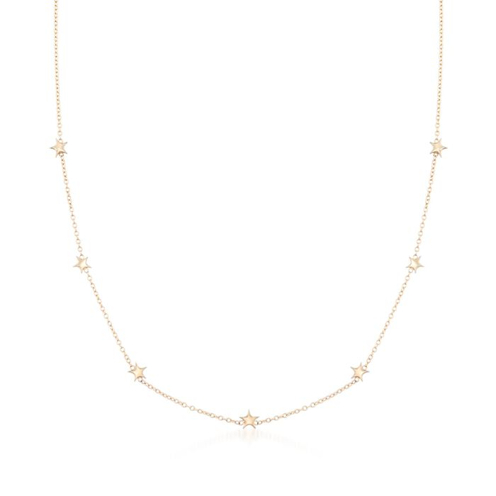 "14kt Yellow Gold Star Station Necklace. 16"", , default"