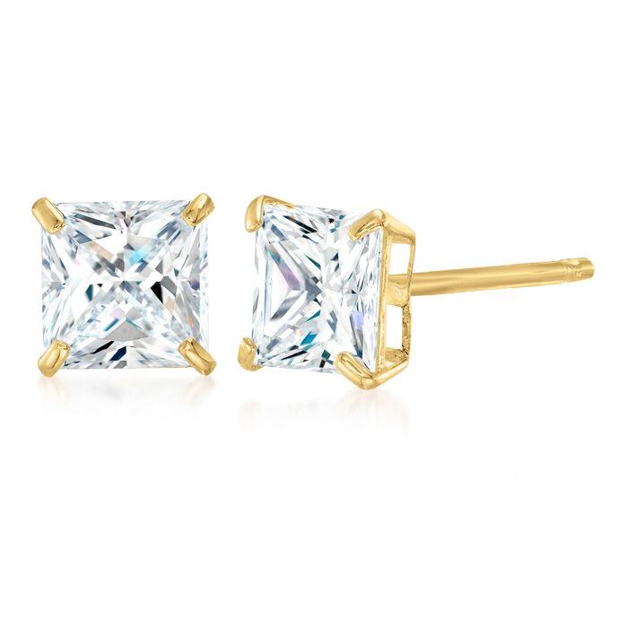 2.00 ct. t.w. Princess-Cut CZ Stud Earrings in 14kt Yellow Gold