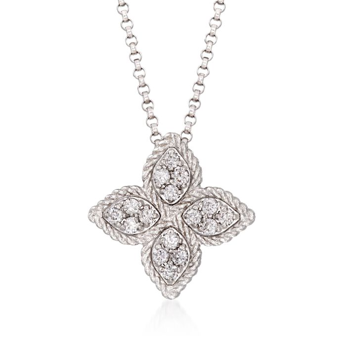 "Roberto Coin ""Princess Flower"" .17 ct. t.w. Diamond Medium Flower Pendant Necklace in 18kt White Gold. 16"""