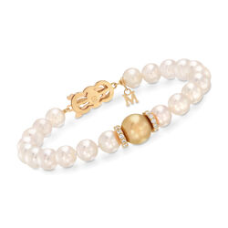 "Mikimoto ""Everyday"" 7-10mm A+ Golden South Sea and White Akoya Pearl Bracelet With .40 ct. t.w. Diamonds in 18kt Yellow Gold, , default"