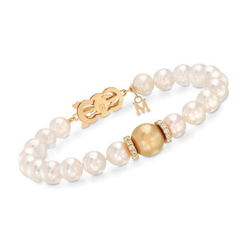 "Mikimoto ""Everyday"" 7-10mm A+ Golden South Sea and White Akoya Pearl Bracelet With .40 ct. t.w. Diamonds in 18kt Yellow Gold. 7.5"", , default"