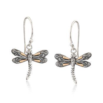 Two-Tone Sterling Silver Bali-Style Dragonfly Drop Earrings, , default