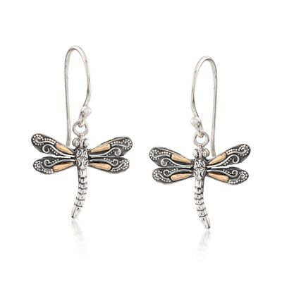 Two-Tone Sterling Silver Bali-Style Dragonfly Drop Earrings, , default