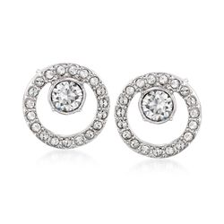 "Swarovski Crystal ""Creativity"" Crystal Open Circle Earrings in Silvertone, , default"