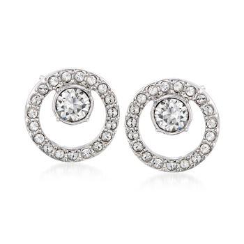 "Swarovski Crystal ""Creativity"" Crystal Open Circle Earrings in Silvertone, , default"