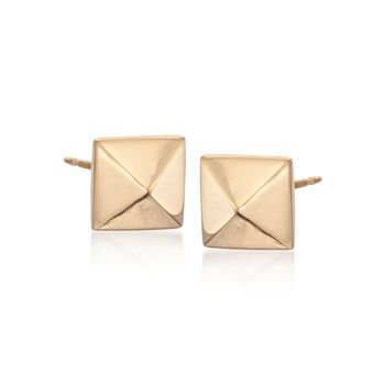 8mm 14kt Yellow Gold Pyramid Stud Earrings, , default