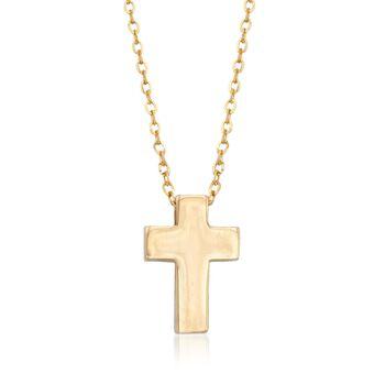 "14kt Yellow Gold Cross Pendant Necklace. 16"", , default"