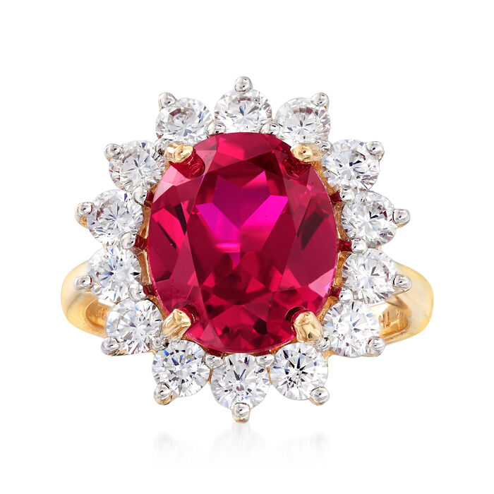 5.00 Carat Simulated Ruby and 1.40 ct. t.w. CZ Ring in 14kt Yellow Gold, , default