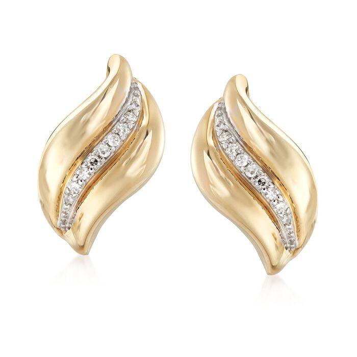 .12 ct. t.w. Diamond Wave Earrings in 14kt Yellow Gold, , default