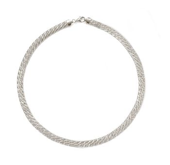 Italian Sterling Silver Mesh Necklace, , default