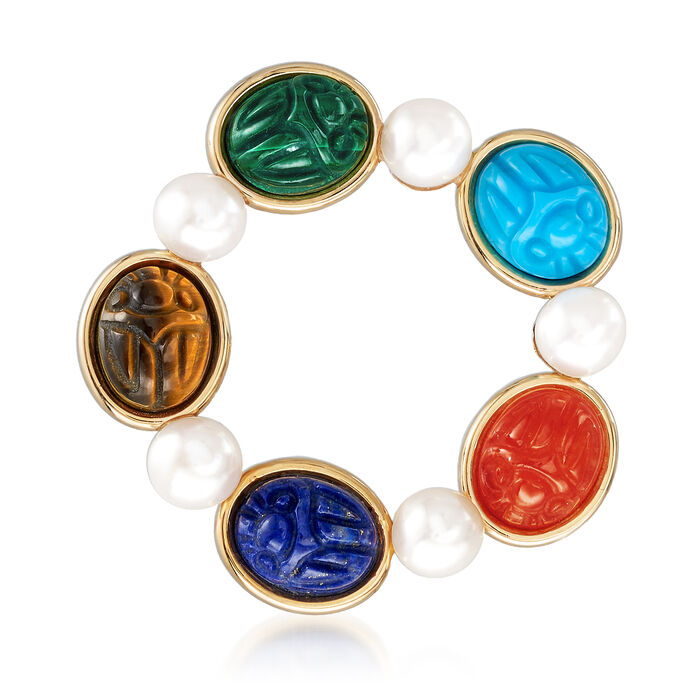 Cultured Pearl and Multi-Gemstone Scarab Pin in 14kt Yellow Gold