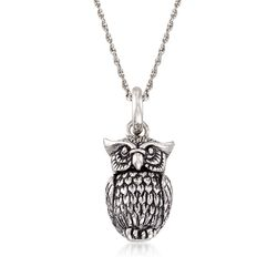 "Sterling Silver Owl Pendant Necklace. 18"", , default"