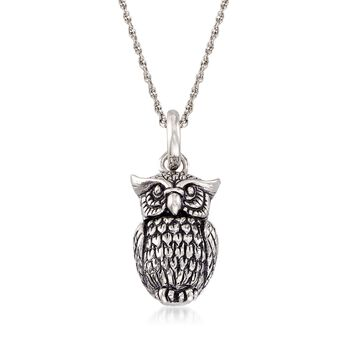 Sterling Silver Owl Pendant Necklace, , default