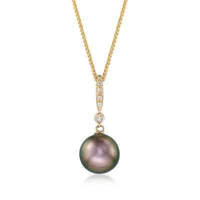 9.5mm Black Cultured Tahitian Pearl Pendant Necklace with Diamond Accents in 14kt Yellow Gold, , default