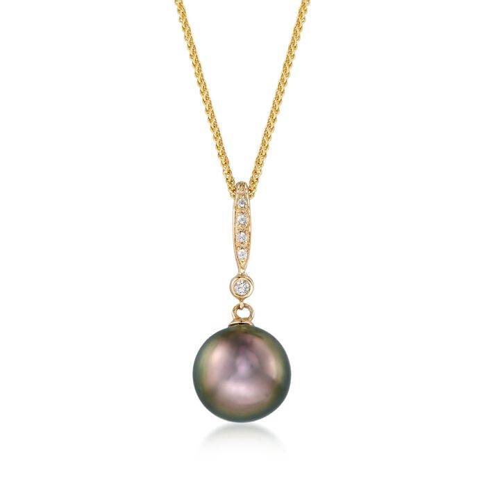 "9.5mm Black Cultured Tahitian Pearl Pendant Necklace with Diamond Accents in 14kt Yellow Gold. 16"", , default"