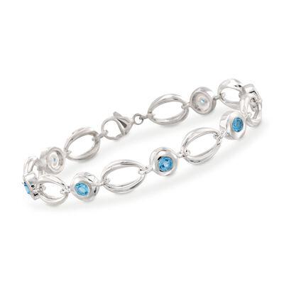 Zina Sterling Silver 2.10 ct. t.w. Blue Topaz Oval Link Bracelet, , default