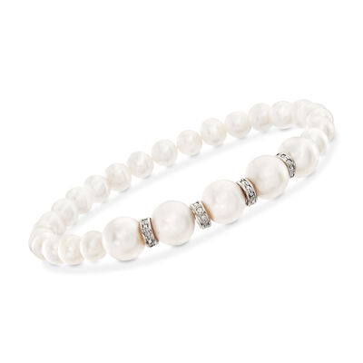 6-8.5mm Cultured Pearl and .25 ct. t.w. Diamond Stretch Bracelet in Sterling Silver, , default