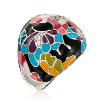 """Belle Etoile """"Butterfly Kisses"""" .20 ct. t.w. CZ Ring With Enamel in Sterling Silver. Size 7, , default"""