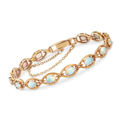 C. 1960 Vintage Opal Link Bracelet With Diamond Accents in 18kt Yellow Gold, , default