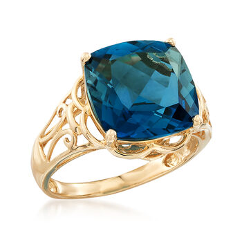 8.00 Carat London Blue Topaz Ring in 14kt Yellow Gold, , default