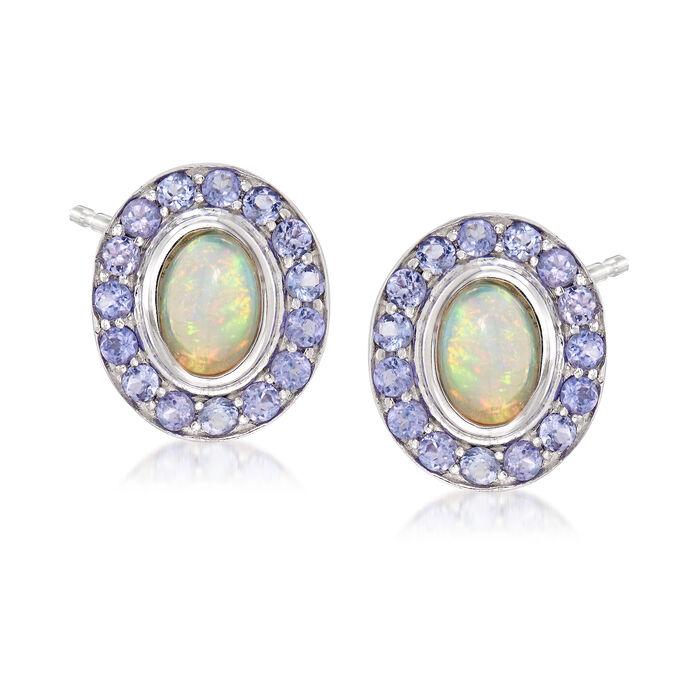 Opal and .90 ct. t.w. Tanzanite Earrings in Sterling Silver, , default