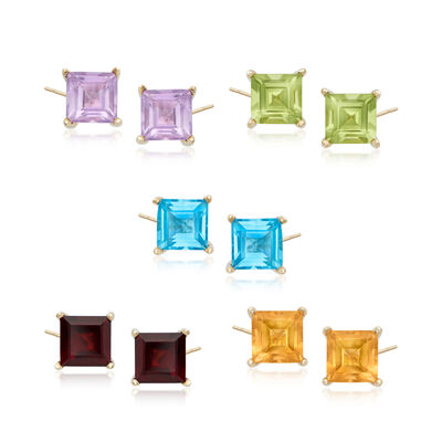 7.20 ct. t.w. Semi-Precious Gem Jewelry Set: Five Pairs of Stud Earrings in 18kt Gold Over Sterling, , default