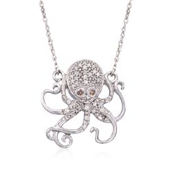 ".20 ct. t.w. Brown and White Diamond Octopus Charm Necklace in Sterling Silver. 18"", , default"