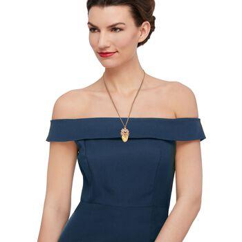 "C. 1940 Vintage .25 Carat Diamond and Bone Elks Lodge Pendant Necklace in 14kt Yellow Gold. 25"", , default"