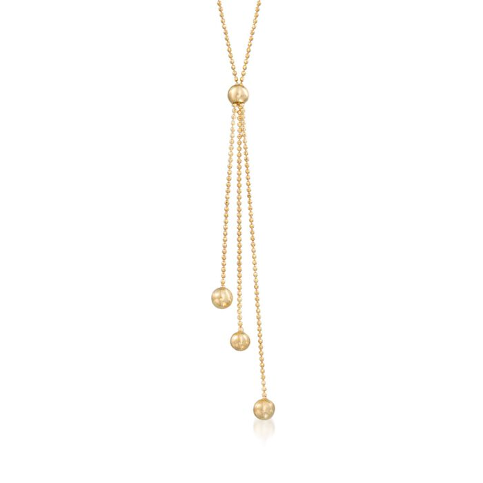 14kt Yellow Gold Triple Bead Drop Necklace
