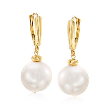 11.5-12.5mm Cultured Pearl Drop Earrings in 14kt Yellow Gold, , default
