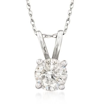 ".75 Carat Diamond Solitaire Necklace in 14kt White Gold. 18"", , default"