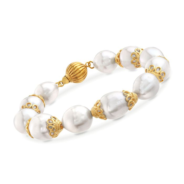 10-12mm Cultured Pearl Bracelet with Lacy 18kt Gold Over Sterling Caps, , default