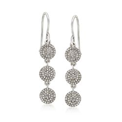 .33 ct. t.w. Diamond Multi-Circle Drop Earrings in 14kt White Gold , , default