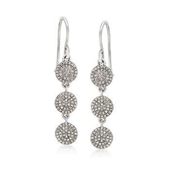 .33 ct. t.w. Diamond Multi-Circle Drop Earrings in 14kt White Gold , , default