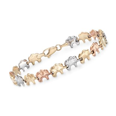 14kt Tri-Colored Gold Elephant Bracelet , , default