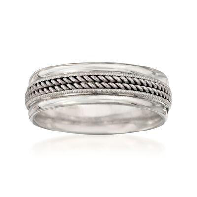 Men's 18kt White Gold and Platinum Wedding Ring