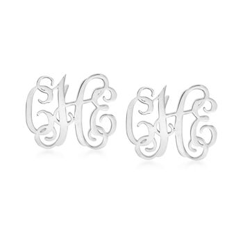 Sterling Silver Small Monogram Earrings, , default