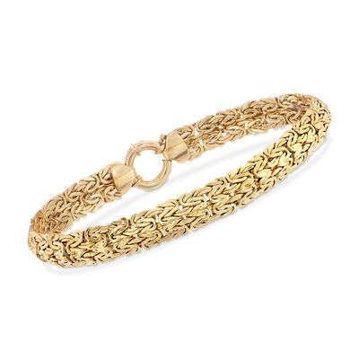 18kt Yellow Gold Byzantine Bracelet, , default