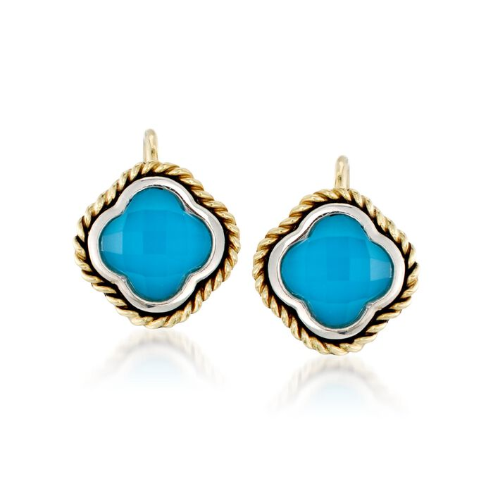 Andrea Candela Turquoise Clover Earrings in Two-Tone, , default