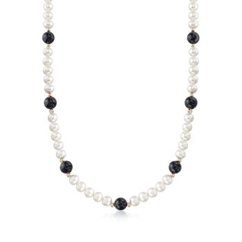 """6.5-7mm Cultured Pearl and 8mm Black Onyx Bead Necklace With 14kt Yellow Gold. 18"""", , default"""