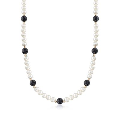 6.5-7mm Cultured Pearl and 8mm Black Onyx Bead Necklace With 14kt Yellow Gold, , default
